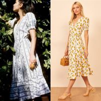 Dress Summer 2020 Lemon printing (no return, no change, one week), blue printing (no return, no change, one week), white printing (no return, no change, one week) XS,S,M,L longuette singleton  Short sleeve Sweet High waist A-line skirt puff sleeve Others 25-29 years old