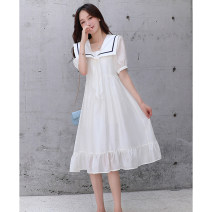 Dress Summer 2021 White, Navy S,M,L Mid length dress singleton  Short sleeve commute Admiral middle-waisted Solid color Socket A-line skirt puff sleeve Others 18-24 years old Type A Other / other Korean version fold LWQY2230 More than 95% Chiffon polyester fiber