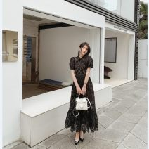 Dress Summer 2020 black XS,S,M,L longuette singleton  Long sleeves commute V-neck High waist Dot zipper Big swing pagoda sleeve Others 25-29 years old Type H Xueyuan style Printing, embroidery, lace, Gouhua, hollow out 51% (inclusive) - 70% (inclusive) organza  polyester fiber