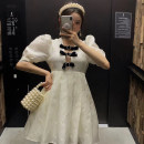 Dress Spring 2021 Black, beige S,M,L longuette singleton  Long sleeves Sweet V-neck High waist Solid color Socket A-line skirt routine 18-24 years old Type A Bow, button 31% (inclusive) - 50% (inclusive) other polyester fiber