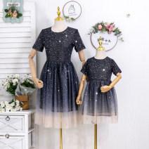 Parent child fashion navy blue Women's dress female Grape girl 90cm, 100cm, 110cm, 120cm, 130cm, 140cm, 150cm, 160cm, mom s, mom m, mom L, mom XL, mom XXL, mom 3XL, mom 4XL, mom 5XL summer lady Thin money skirt 50. M, s, XL, XXL, XXXL, XXL 2, 3, 4, 5, 6, 7, 8, 9, 10 years old
