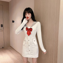Dress Autumn 2020 White long sleeve, white short sleeve S,M,L Short skirt singleton  Long sleeves Sweet Admiral High waist Solid color zipper A-line skirt routine Others 18-24 years old Type A O'nina Bowknot, stitching, zipper 31% (inclusive) - 50% (inclusive) other cotton college
