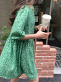 Dress Summer 2021 green Average size Short skirt singleton  Short sleeve commute square neck High waist Decor other puff sleeve Others Type H Korean version Button 31% (inclusive) - 50% (inclusive) Lace other