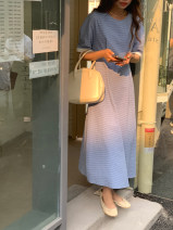 Dress Summer 2021 Green, blue Average size longuette singleton  Short sleeve commute Crew neck High waist lattice Socket A-line skirt puff sleeve Others 25-29 years old Type A Korean version Pocket, zipper 31% (inclusive) - 50% (inclusive) other other