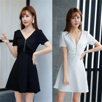 Dress Summer 2020 Red, white, pink, black S,M,L,XL,2XL Short skirt singleton  Short sleeve commute V-neck middle-waisted Solid color Socket Big swing routine Others 18-24 years old Type A other Korean version Ruffle, tuck, open back, fold, wave, zipper Sauna technician work clothes other