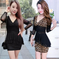 Dress Spring 2021 Black, leopard print S,M,L,XL Short skirt singleton  Long sleeves commute V-neck middle-waisted Solid color Socket A-line skirt routine Others 25-29 years old Type A other Korean version More than 95% other polyester fiber