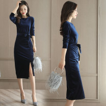 Dress Autumn of 2019 Navy, Burgundy, black S,M,L,XL,2XL Mid length dress singleton  Long sleeves commute Crew neck High waist Solid color Socket other other Others 30-34 years old Type H Other / other QJYG1728 81% (inclusive) - 90% (inclusive) other cotton