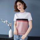 T-shirt White with elegant powder, hole green with black, skin red with black, elegant powder with hole green, elegant powder with skin red M,L,XL,2XL Summer 2021 Short sleeve Crew neck easy Super short routine commute other 96% and above 30-34 years old Korean version Color matching Splicing