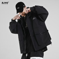 Jacket Other / other Youth fashion black M,L,XL,2XL routine easy Other leisure spring Long sleeves Wear out Hood tide youth routine Zipper placket 2021 Rubber band hem Loose cuff Solid color polyester fiber More than two bags) Cover patch bag polyester fiber