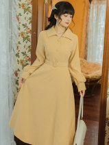 Dress Spring 2021 yellow S,M,L longuette singleton  Long sleeves commute Polo collar High waist Solid color A-line skirt shirt sleeve Type A Other / other Retro Button