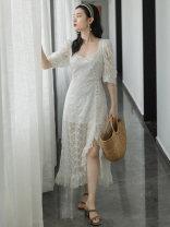 Dress Summer 2021 white S,M,L longuette singleton  elbow sleeve commute square neck High waist Solid color zipper A-line skirt puff sleeve Type A Retro