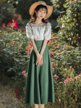 Fashion suit Summer 2021 S,M,L White top + green skirt