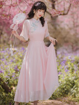 Dress Summer 2021 Pink S,M,L,XL longuette singleton  elbow sleeve Sweet stand collar High waist Solid color zipper Big swing Type A Other / other Buttons, stitching, embroidery Countryside