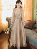 Dress Summer 2021 Picture color S,M,L longuette singleton  Long sleeves commute V-neck High waist Solid color zipper Big swing bishop sleeve Type A Other / other lady