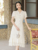 Dress Summer 2021 Apricot S,M,L longuette singleton  Short sleeve commute V-neck High waist Solid color zipper A-line skirt Type A Other / other lady Button, button