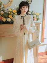 Dress Spring 2021 Picture color S,M,L longuette singleton  Long sleeves commute stand collar High waist Solid color zipper A-line skirt pagoda sleeve Type A Other / other literature Cut out, lace, button, lace