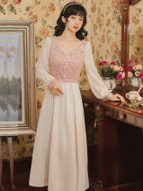 Dress Summer 2021 Picture color S,M,L,XL Mid length dress singleton  Long sleeves commute square neck High waist zipper A-line skirt bishop sleeve Type A literature Stitching, beads, buttons