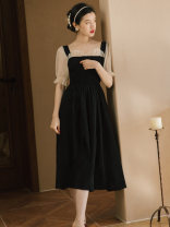 Dress Summer 2021 Black long sleeves, black short sleeves S,M,L,XL longuette singleton  commute square neck High waist Solid color zipper A-line skirt Type A Other / other Retro Splicing