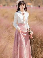 Dress Summer 2021 Picture color S,M,L,XL longuette Fake two pieces Long sleeves commute Doll Collar High waist A-line skirt Type A Other / other lady Embroidery, stitching, buttons