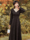 Dress Spring 2021 black S,M,L longuette singleton  Long sleeves commute V-neck High waist Solid color zipper A-line skirt routine Type A Other / other Retro