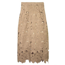skirt Spring 2021 S,M,L Brown, sky blue, black, brown, purple, white, lake blue, dark green Mid length dress Sweet High waist skirt Type H 18-24 years old More than 95% Lace Cut out, lace solar system