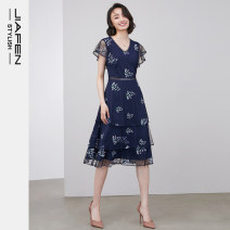 Dress Spring 2020 Blue purple flower S M L XL Mid length dress singleton  Short sleeve commute middle-waisted Decor zipper Cake skirt Lotus leaf sleeve 30-34 years old Jiafen Ol style J01401E More than 95% polyester fiber Polyester 100% Same model in shopping mall (sold online and offline)