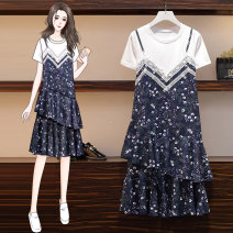 Women's large Summer 2021 Picture color (dress) Large L, large XL, large XXL, large XXL, large XXXL Dress singleton  commute easy moderate Socket Short sleeve Korean version Crew neck Medium length routine FL4F109P659K2198 25-29 years old Medium length other