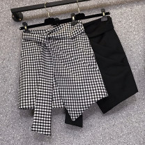 Women's large Summer 2021 Black, check Large XL, large XXL, large XXL, large XXXXL, large XXXXL, large L skirt singleton  commute moderate Korean version routine other Three dimensional cutting 25-29 years old Three dimensional decoration 51% (inclusive) - 70% (inclusive) Short skirt