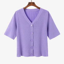 Women's large Summer 2021 Purple, black Large XL, large XXL, large XXL Knitwear / cardigan singleton  commute Short sleeve Solid color Korean version V-neck routine ALHYP658K1886 25-29 years old 51% (inclusive) - 70% (inclusive)