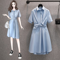 Women's large Summer 2021 blue L [90-115 Jin recommended], XL [115-135 Jin recommended], 2XL [135-155 Jin recommended], 3XL [155-175 Jin recommended], 4XL [175-200 Jin recommended] Dress singleton  commute easy moderate Socket Short sleeve Solid color Korean version Polo collar Medium length
