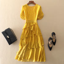 Dress Summer of 2019 Black, yellow S,M,L,XL,2XL Mid length dress singleton  Short sleeve commute V-neck middle-waisted Dot Socket A-line skirt routine Others Type A Ol style Lotus leaf edge Chiffon other