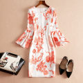 Dress Spring of 2018 As shown in the figure S,M,L,XL,2XL Middle-skirt singleton  three quarter sleeve street Crew neck High waist Decor Socket One pace skirt pagoda sleeve Others Type H printing F4002 other other Europe and America