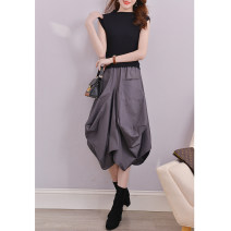 Dress Autumn of 2019 Grey, black, red, please look forward to 1, please look forward to 2, please look forward to 3 S (for 85-105 kg), m (for 90-115 kg), l (for 115-125 kg), XL (for 125-135 kg) longuette Fake two pieces Sleeveless commute Half high collar middle-waisted Solid color Socket Others