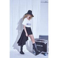 skirt Spring 2021 S,M,L,XL Black spot Short skirt grace Natural waist Irregular Solid color More than 95% SYU SYU HAN polyester fiber