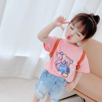 T-shirt White, pink Other / other 80cm,90cm,100cm,110cm,120cm,130cm female summer Short sleeve Crew neck princess There are models in the real shooting nothing other Solid color Other 100% Sweat absorption Chinese Mainland Zhejiang Province Hangzhou