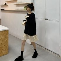 Dress Autumn 2020 Pink, black Average size Middle-skirt singleton  Long sleeves commute Crew neck Loose waist other Socket Pleated skirt routine Others 18-24 years old Type A Other / other Korean version Splicing cotton