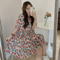 Dress Spring 2021 Picture color Average size Mid length dress singleton  Short sleeve commute Crew neck High waist Decor Socket A-line skirt routine 18-24 years old Type A Other / other Korean version Chiffon polyester fiber