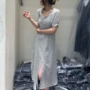 Dress Summer 2021 Decor, black M, L Mid length dress singleton  Short sleeve commute square neck High waist Decor Socket A-line skirt puff sleeve Others 25-29 years old Type A Korean version 51% (inclusive) - 70% (inclusive) Chiffon other