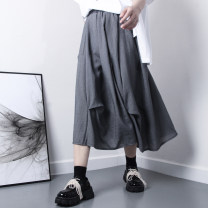 skirt Spring 2021 Average size Black, gray longuette commute High waist A-line skirt Solid color Type A 25-29 years old brocade cotton fold