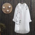 shirt white M, L cotton 96% and above Long sleeves commute Medium length square neck Single row multi button routine Broken flowers Straight cylinder Korean version