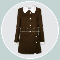 short coat Winter 2020 Custom size Dark brown Long sleeves Medium length singleton  Self cultivation commute routine Doll Collar Single breasted Solid color 25-29 years old CECILIA WOO Button KCW-SUT2 wool