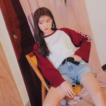 T-shirt Milky white (wine red sleeve) milky white (green sleeve) XSSML Spring of 2018 Long sleeves Crew neck easy Medium length raglan sleeve commute 18-24 years old Korean version youth Letter splicing Jcool store gscx140 printing Cotton 100% Pure e-commerce (online only)