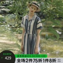 Dress Spring 2020 S M L XL XXL longuette singleton  Short sleeve commute middle-waisted stripe Socket Pleated skirt routine 25-29 years old Type X The answer Retro 51% (inclusive) - 70% (inclusive) cotton Cotton 59.9% polyester 40.1% Same model in shopping mall (sold online and offline)