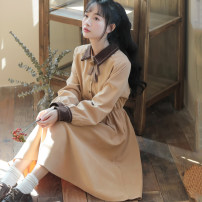 Dress Autumn 2020 Apricot, blue, Burgundy, black S,M,L,XL,2XL Mid length dress singleton  Long sleeves Sweet Polo collar High waist Solid color Socket A-line skirt shirt sleeve Others 18-24 years old Type A Splicing 71% (inclusive) - 80% (inclusive) other other Mori