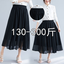 skirt Summer 2020 2XL,3XL,4XL,5XL black Middle-skirt Versatile High waist Pleated skirt Solid color Type A 25-29 years old
