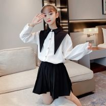 suit Other / other black 110cm,120cm,130cm,140cm,150cm,160cm female spring and autumn college Long sleeve + skirt 2 pieces routine There are models in the real shooting Single breasted nothing Solid color cotton children Giving presents at school 21007 girls' pointed collar suit Class A Huzhou City
