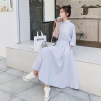Dress Summer 2021 Pinstripe S,M,L,XL longuette singleton  Long sleeves commute Polo collar Loose waist Solid color Single breasted Big swing routine Others 18-24 years old Type H Korean version Q782 30% and below other polyester fiber