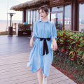 Dress Summer 2021 Blue, yellow S,M,L,XL longuette singleton  Short sleeve commute Polo collar middle-waisted Solid color Single breasted Big swing puff sleeve Others 18-24 years old Type H Other / other Korean version belt Q775 30% and below other polyester fiber