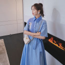 Dress Summer 2021 blue S,M,L,XL longuette singleton  Short sleeve commute Polo collar Loose waist stripe Single breasted Big swing routine Hanging neck style 18-24 years old Type H Other / other Korean version Q764 30% and below other polyester fiber