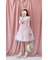 Dress Spring of 2019 Grey apricot [long sleeves], Grey Pink [long sleeves], grey green [long sleeves], black [long sleeves] S, m, l, XL, XXL Middle-skirt singleton  Long sleeves Sweet Doll Collar middle-waisted Animal design zipper Princess Dress bishop sleeve Others Type A Little Dipper other Lolita